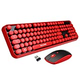 Wireless Keyboard Mouse Combo,2.4GHz Wireless Red Quite Full Size Keyboards with 108 Round Keycaps and Cute Gaming Mouse with 3 Adjustable DPI, Retro Keyboard Mouse for Mac Computer Laptop PC Note