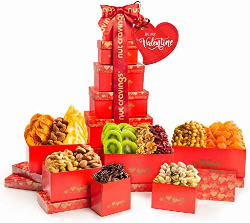 Valentines Day Gift Baskets for Her or Him Dried Fruit Nut Platter Red Tower 12 Mix Gouremt product image