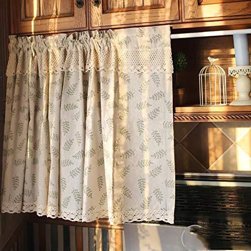 BATSDCB Mediterrane Idylle halben Vorhang, Baumwolle Leinen Kurze vorhänge, Halbe vorhänge, Für Coffee-Shop Küche Schranktür Waschbecken-C 140x70cm(55x28inch)
