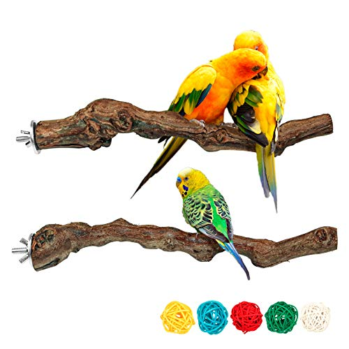 2 Packs Parrot Perch Stand,Natur...