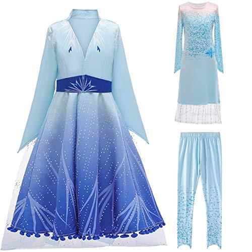 Kosplay Ragazze Elsa Vestito Principessa Costume da Carnevale del Ghiaccio Regina delle Nevi Abito da Halloween Festa Natale Compleanno Cosplay Party Fancy Dress Up 2-14 Anni