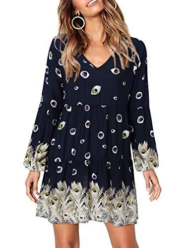 kenoce Damska sukienka z długim rękawem, dekolt w kształcie litery V, krótka sukienka mini, luźna sukienka Swing, T-shirt, sukienka, bluzki, tunika, z krótkim rękawem