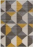 Carpetforyou Designer Moderner Kurzflor Teppich Desert Stones bunt grau gelb dreieck in 4 Größen für Wohnzimmer Schlafzimmer Jugendzimmer Kinderzimmer (120 x 170 cm)