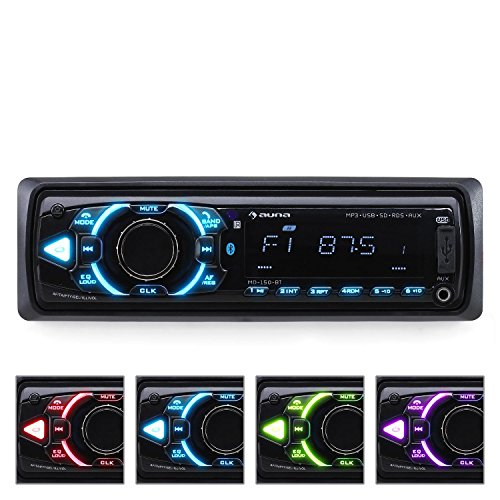 AUNA MD-150 BT - autoradio BT, MP3 USB SD, RadioPLL AM/FM, AUX, Amplificatore MOSFET con 4x75W max. / 4x16W RMS, Equalizzatore, Display LCD, Telecomando, Retroilluminazione regolabile, Nera
