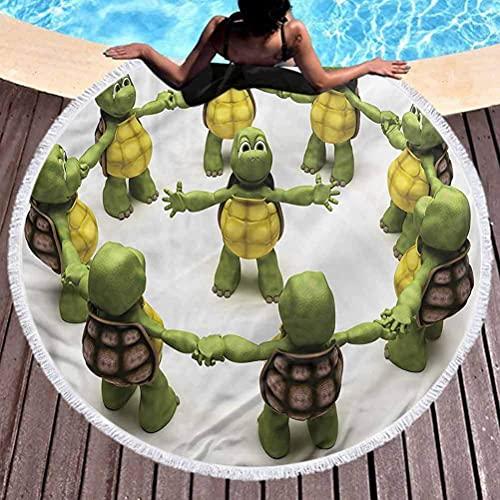 Toalla de Playa sin Arena, Toalla de Playa de Microfibra para Reptiles, Tortugas Ninja, Uso para niños, Mujeres, Hombres, niños y niñas (diámetro 59 ')