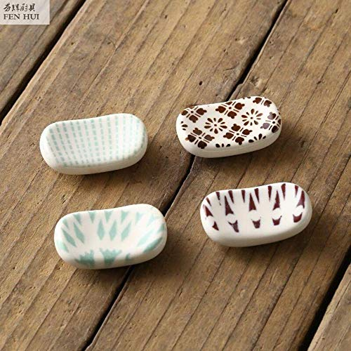 JLCK Soportes de cerámica para Palillos, Soporte para Palillos, 4 Piezas, Soporte para Palillos japoneses, Soporte para cucharas, Tenedor, vajilla, Accesorio de Cocina-re