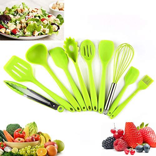 Silikon Küchenhelfer, Silikon-Küchengeräte 10 Stück, Antihaft Hitzebeständiger Silikonspatel Set, Antihaft-Küchenbackwerkzeuge.(Grün)