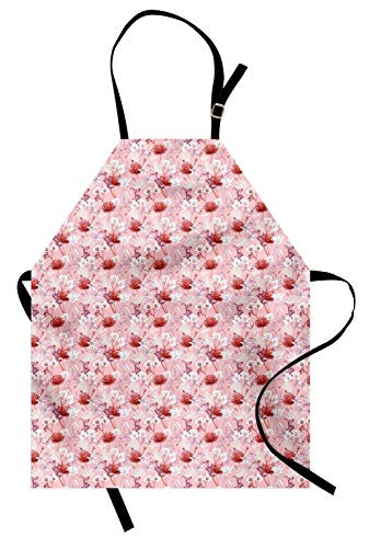 Viowr22iso Adjustable Bib Aprons, Botanical Apron Flower Bouquets Blowing Garden Field Flourishing Summer Flora Fragrance Kitchen Cooking Aprons for Crafting BBQ Drawing, Pale Pink Red White