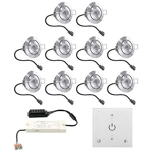 Juego de focos LED empotrables Granada, 10 x 3 W, inclinables, IP44, resistente a la humedad, incluye regulador de pared táctil y mando a distancia