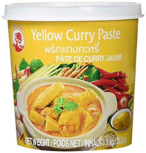 Cock Currypaste, gelb, milde Schärfe, authentisch thailändisch kochen, natürliche Zutaten, vegan, halal und glutenfrei 1 x 1 kg