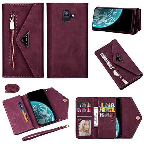 Vepbk Brieftasche Hülle für Samsung Galaxy A6 2018 / A600 Handyhülle, Handytasche Case Leder Geldbörse mit Reißverschluss Kartenfach Umhängeband Cover Klapphülle für Galaxy A6 2018 / A600,Weinrot