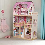 MotherandBaby Wooden Dolls House For Girls Kids Large Dollhouse With 17PCS Furnitures - DH001