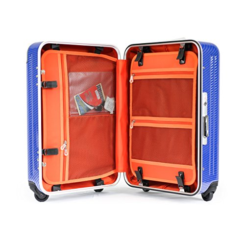 Enkloze X1 Carbon Blue Carry-On 21' Spinner 100% PC TSA Approved Front Loading Zipperless