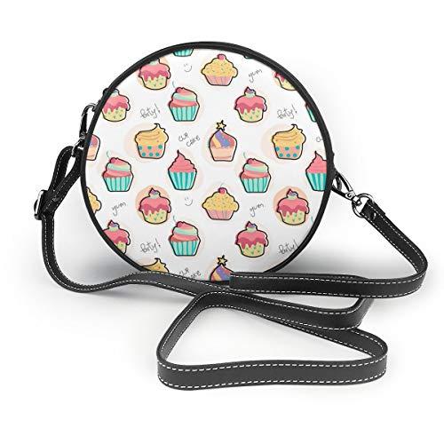 Wrution Delicious Bunte Cupcake Runde Umhängetasche mit Reißverschluss aus weichem Leder für Damen