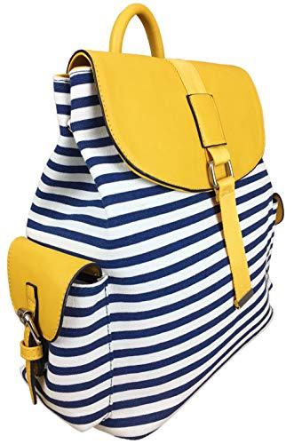 Savvy Street - Grande borsa da spiaggia a zainetto, in tela nautica, a strisce, con aletta a contrasto e numerose tasche, ideale per spiaggia e vacanze ecc., Giallo (Giallo), Large