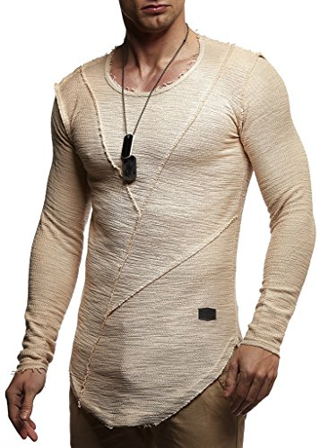 Leif Nelson Herren Pullover Hoodie Kapuzenpullover Sweatjacke Longsleeve Sweatshirt Jacke Basic Rundhals Langarm Oversize Shirt Hoody Sweater LN6323; Größe M; Beige