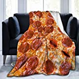 MFULEE Giant Pepperoni Pizza Food Retro Throw Blanket Super Soft Hypoallergenic Plush Bed Couch Living Room,Bed Warm for Adults & Kids 3D Print 80'X60'