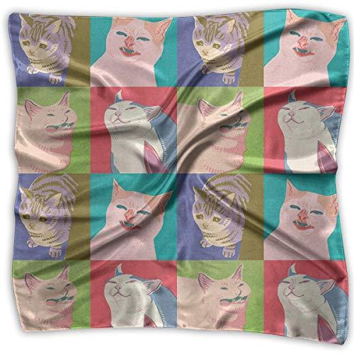 Abel Berth Beliebte Taschentücher für Frauen Fantastische Meme Cats Square Silk Party Taschentücher