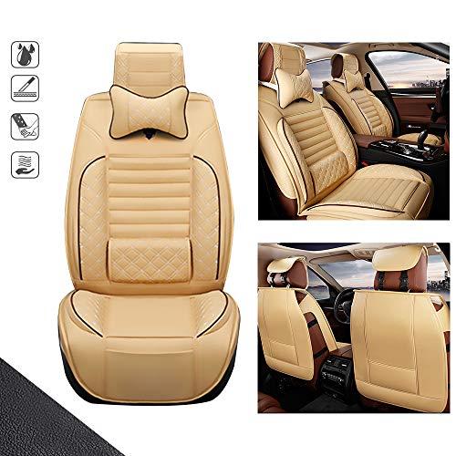 huitelai Fundas de asiento de coche para L exus HS250H de 5 asientos de piel sintética impermeable, fácil instalación, fundas para asientos delanteros y 2 almohadas, edición de lujo, color beige