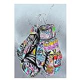Tiiiytu Guantes De Boxeo Graffiti Art Posters E Impresiones Pintura En Lienzo Calle Arte De La Pared Imagen para La Sala De Estar Decoración del Hogar -50X75Cm Sin Marco