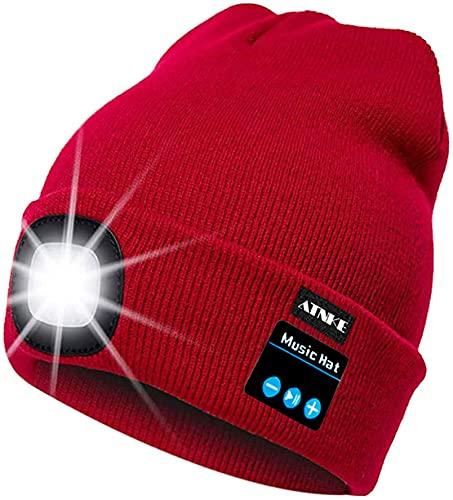 ATNKE Berretto Bluetooth con LED Illuminato, USB Ricaricabile Wireless Musicale Cappello da Corsa Ultra Bright 4 LED Impermeabile Lampada Uso per Sci Escursionismo Campeggio Ciclismo (Rosso)