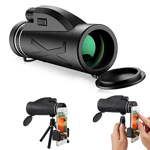 Monocular Telescope, CAMTOA 80x100 High Power Prism Monocular HD Dual Focus Scope, Low Night Vision Portable Waterproof Fogproof, Tripod & Smartphone Holder for Camping Bird Watching Travelling