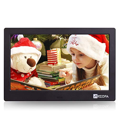 ARZOPA Digital Photo Frame10 inch, IPS Screen Widescreen HD 16:9 Picture Album Support MP3 MP4 Video Player Clock Calendar Random Playback Mode with Remote Control