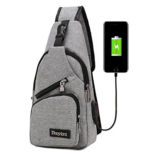 cuddty Herren und Damen Sling Rucksack Brust Taschen Crossbody Taschen Wandern Reisen Rucksack Tagesrucksack mit USB Lade-Schnittstelle