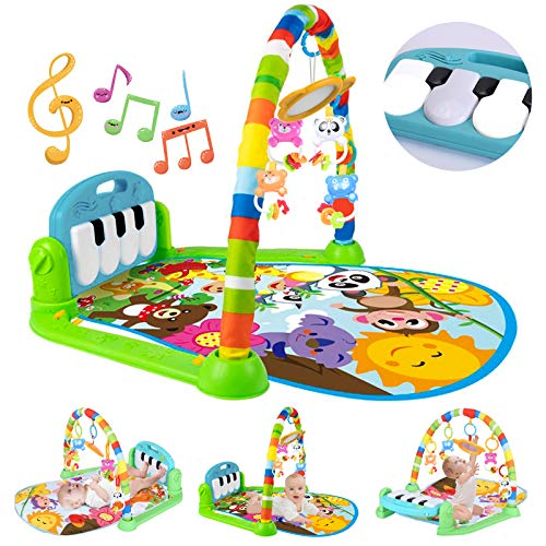 Baby Play Mat Activity Gym For Infants, Baby Gym With Music & Lights, Jungle Gym Activity Center With 5 Colorful Musical Toys, Kick Play Piano Gym Boy Girl Gift For Baby Shower 0 To 3 6 9 12 Months