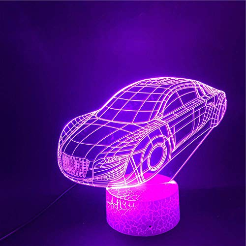 3D Illusion Lamp Led Night Light Base The Sports Car USB Touch Sensor Decorative Kids Present Atmosphere Colorful Desk Lamp