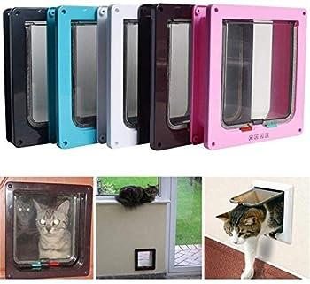 Mirui 4 Way verrouillables Dog Cat Kitten Sécurité Porte Flap Porte en Plastique ABS intellgent de contrôle des Chiens Porte Animaux Rongeur Chat Porte Pet clôture (Color : Pink, Size : S)