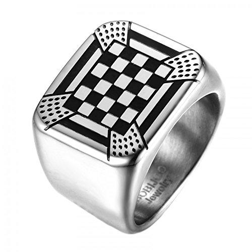 BOBIJOO Jewelry - Ring, Zegelring Pad Mozaïek Kolom Vrijmetselarij Ornament Rite Frans