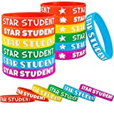 Star Student Wristbands Color Beautiful Star Wristbands Fancy Silicone Bracelets Classroom Teacher Supplies Recognition Award in School, Sports and Office Education Awards for Kids (36 Pieces)
