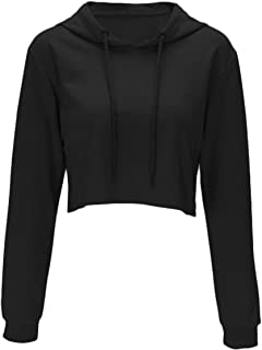 Women Long Sleeve Pullover Hooded Sweatshirt Casual Loose Crop Top Shirt