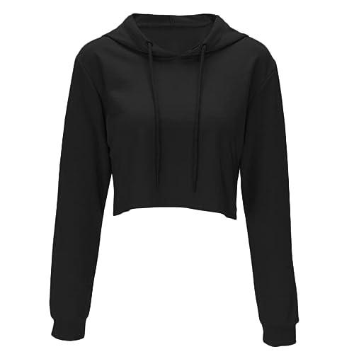 bc061ab6 Women Long Sleeve Pullover Hooded Sweatshirt Casual Loose Crop Top Shirt