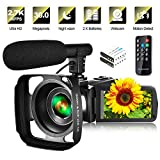 Video Camera Camcorder with Microphone & Remote 2.7K UHD 30FPS Vlogging Camera...