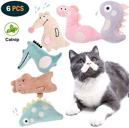 Legendog 6PCS Catnip Cat Toys, Cute Cat Interactive Catnip Toys for Indoor Cats, Plush Animal Shape Cat Chew Toys with Catnip, Best Cat Toy Set for Cats Kittens (Multicolor)