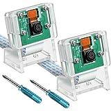 2 Piezas Módulo de Cámara OV5647 Con Sensor 1080p de 5 Megapíxeles Compatible con Raspberry Pi Model A B B+, Pi 2 y Raspberry Pi 3, 3 B+, Pi 4, 2 Piezas Destornilladores y 2 Piezas Soporte de Cámara