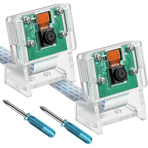 Frienda 2 Pièces Module de Caméra 5 Mégapixels 1080p Capteur OV5647 Compatible avec Modèle Raspberry Pi A B B +, Pi 2 et Raspberry Pi 3, 3 B +, Pi 4, 2 Pièces Tournevis et 2 Pièces Support de Caméra