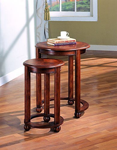 2-piece Round Nesting Tables Warm Amber