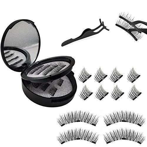 Magnetische Wimpern, 3d Magnet Wimpern Set, Natural Look Wiederverwendbar Künstliche Wimpern mit 3 Magneten, Dual Magneten Magnetic False Eyelashes + Edelstahl Pinzette