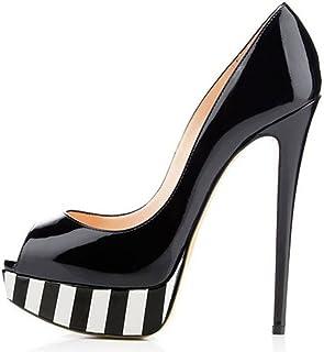 03237230eb53e Amy Q Women's Platform Peep Toe High Heel Pumps Size 4-15 US