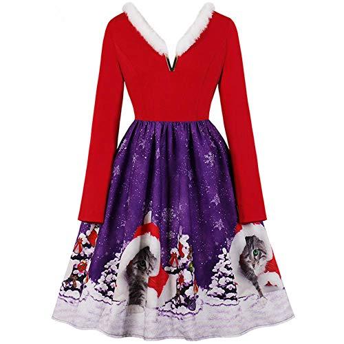 Vestido rojo de Navidad para mujer, cuello de piel de invierno, manga larga, cuello en V, elegante, Vintage, con estampado de columpio grande, trajes de fiesta de Navidad, bata para mujer