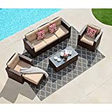 Super Patio 7 Piece Patio Furniture Set, Outdoor Sectional Rattan Sofa Set, All Weather Wicker Conversation Couch Set with Beige Seat and Back Cushions, Red Throw Pillows, Espresso Brown
