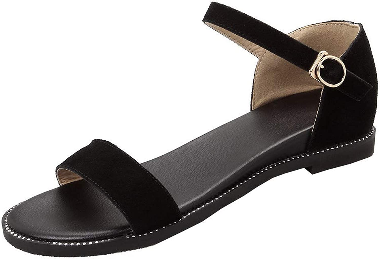 AmoonyFashion Women's Solid Pu Low-Heels Open Toe Buckle Sandals,BUSLT004694