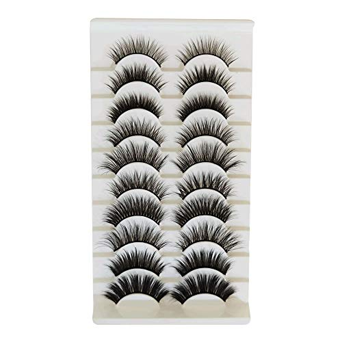 Yueshop 10 Pairs Faux 3D Lashes Multipack, False Eyelashes Natural Soft False Eyelashes Pack for Makeup Eyelashes Extension (10 Pairs-3D Mixed Style)