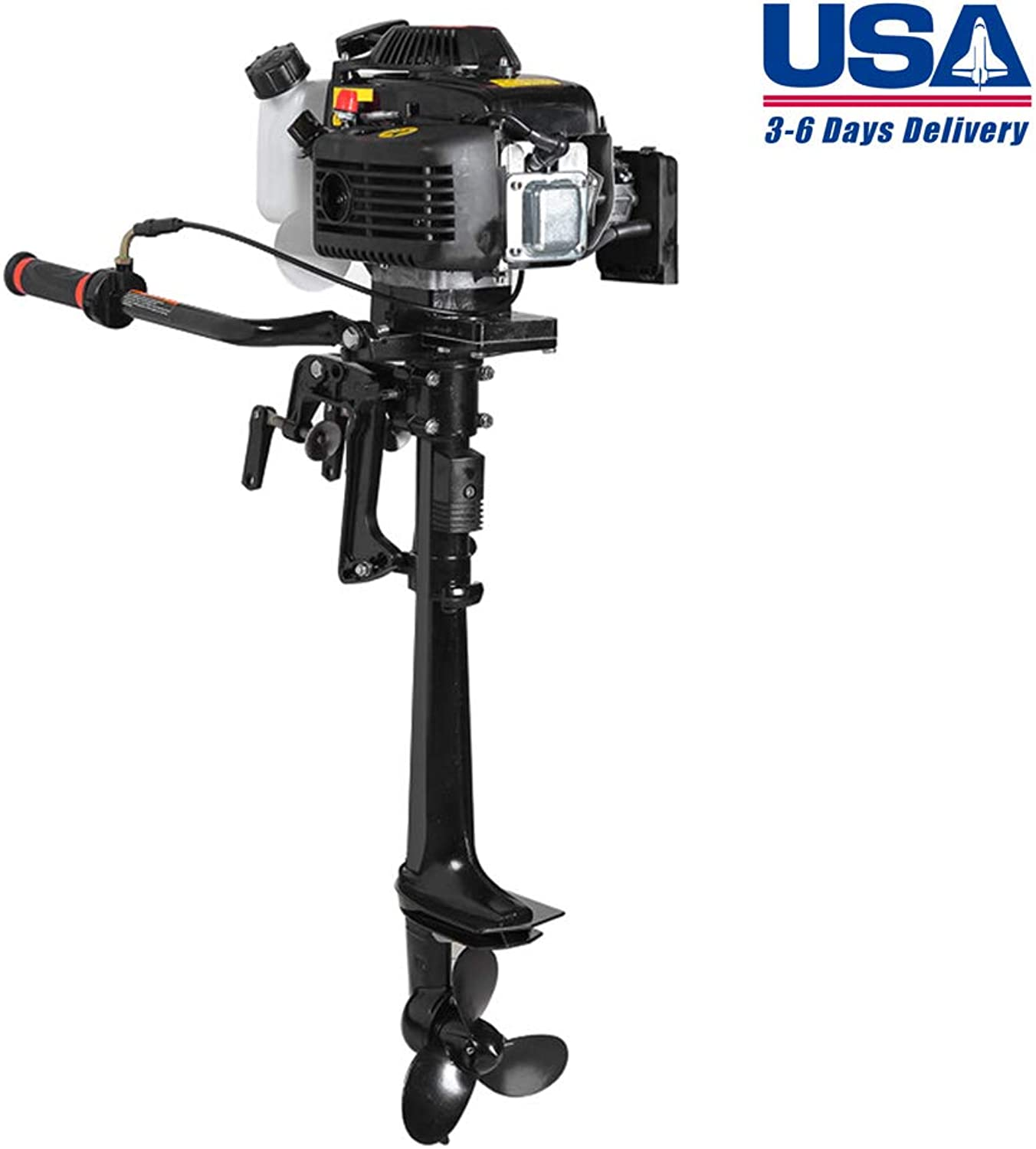 Zinnor 4 Stroke 3.6 HP Outboard Motor 55CC Boat Engine with Air Cooling System, USA Shipping