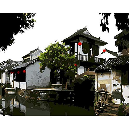 BJWQTY New painting digital framed ancient city charm oil beautiful landscape landscape decorative art picture on canvas