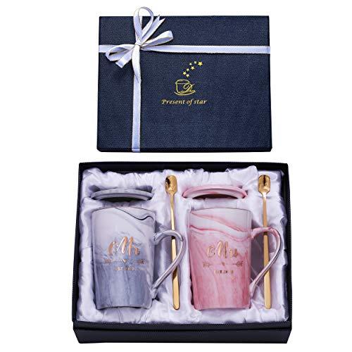Jumway Geschenk Zum 1 Jahrestag Für Paare Geschenk Zum 1 Hochzeitstag Für Sie Ihn Paare Mr Mrs Mug Est 2019 Keramik Marmor Kaffeetassen 400 Ml