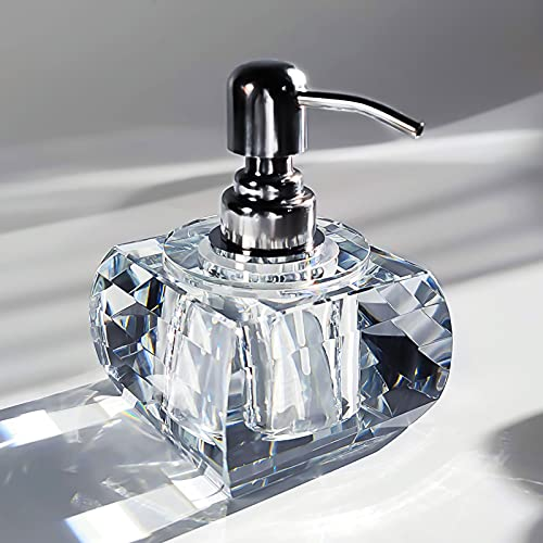 QTQZDD Crystal Glass Soap Dispenser for Bathroom, Modern Decorative Hand Soap Dispenser with Rust Proof Stainless Steel Pump, Lotion Dispenser for Kitchen Hotel Club Ornaments-Clear Glass
